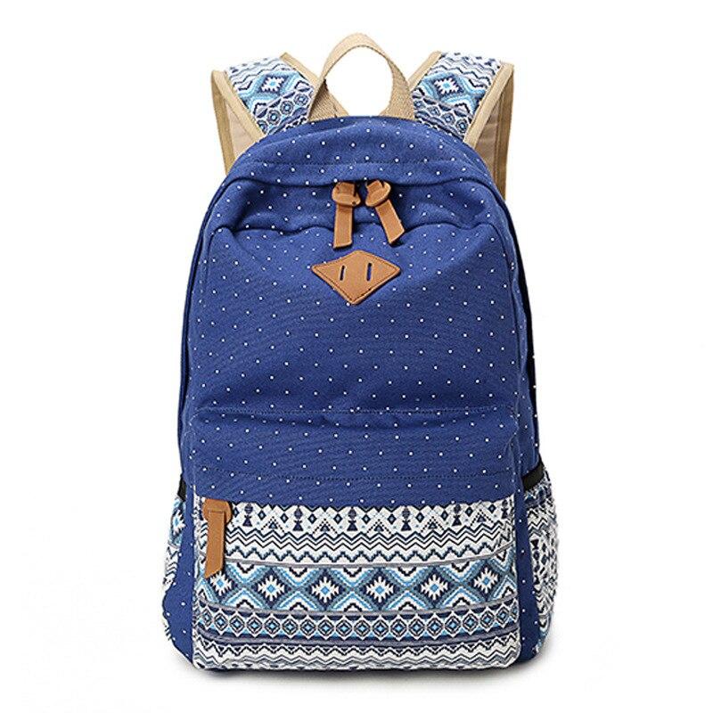 ФОТО 2015 Vintage Girl School Bags High Quality Cute Dot Printing Canvas Women Backpack Mochila Casual Bag School Backpack