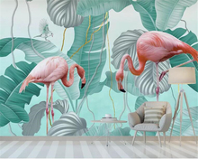 beibehang Customized personality classic modern stereo wall paper  flamingo tropical leaves TV sofa background 3d wallpaper