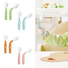 Детская посуда, набор ложка и вилка для кормления, дорожный безопасный Чехол для малышей, удобный захват, термостойкая детская ложка для кормления