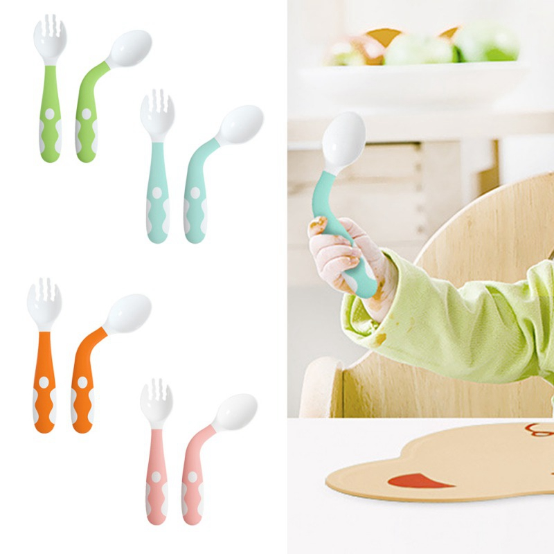 Baby Utensils Feeding Spoon Fork Set Travel Safe Case Toddler Babies Easy Grip Heat-Resistant Children Feeding Training Spoon