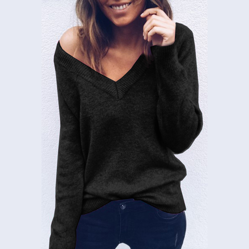 Sexy Women Sweater V Neck Loose Sweater Women Off Shoulder Autumn Sweater Pullover Womens Jumper Pull Femme Christmas Sweater