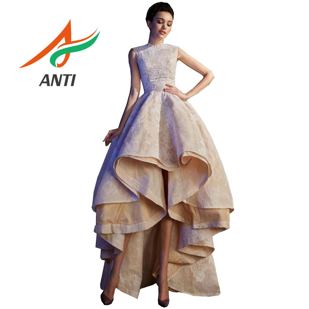 ANTI Elegant 2019 Lace Long   Prom     dresses   Sleeveless High Neck Vestidos de fiesta   dress   graduation Champagne Summer   Prom     Dress