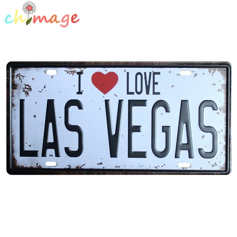 I Love Las Vegas Car License Plate Vintage Tin Sign Bar Pub Home Kitchen Wall Decor