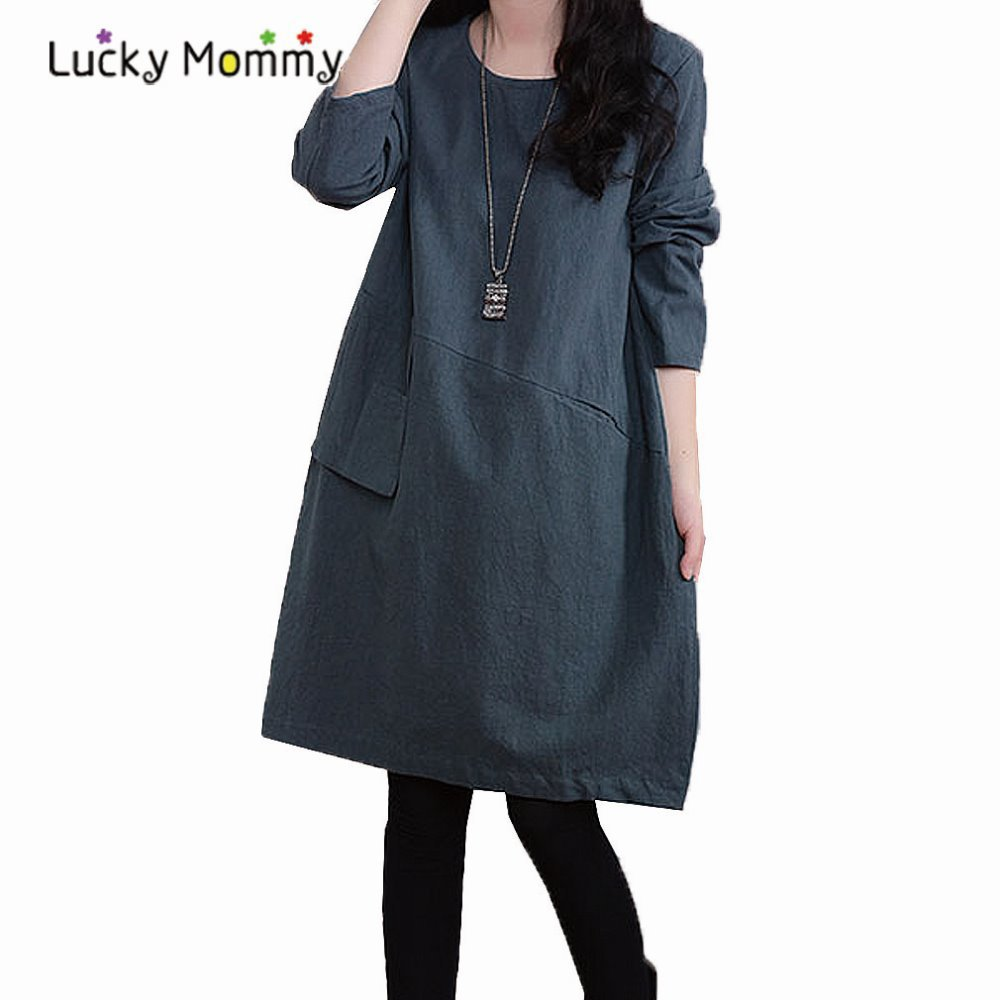 Fashion Long Sleeved Loose Linen Cotton Maternity Dresses For