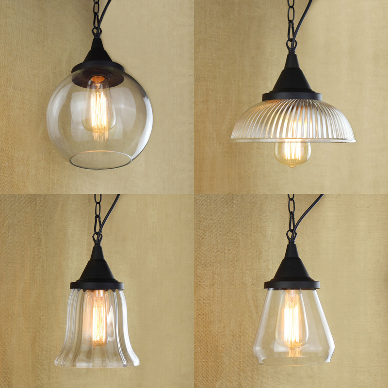 Modern Clear Glass Chain Pendant Lamps Glass Shades For