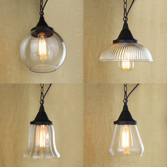 Modern Clear Glass Chain Pendant Lamps Shades For Light Fixtures Art Decor Hanging Lamp