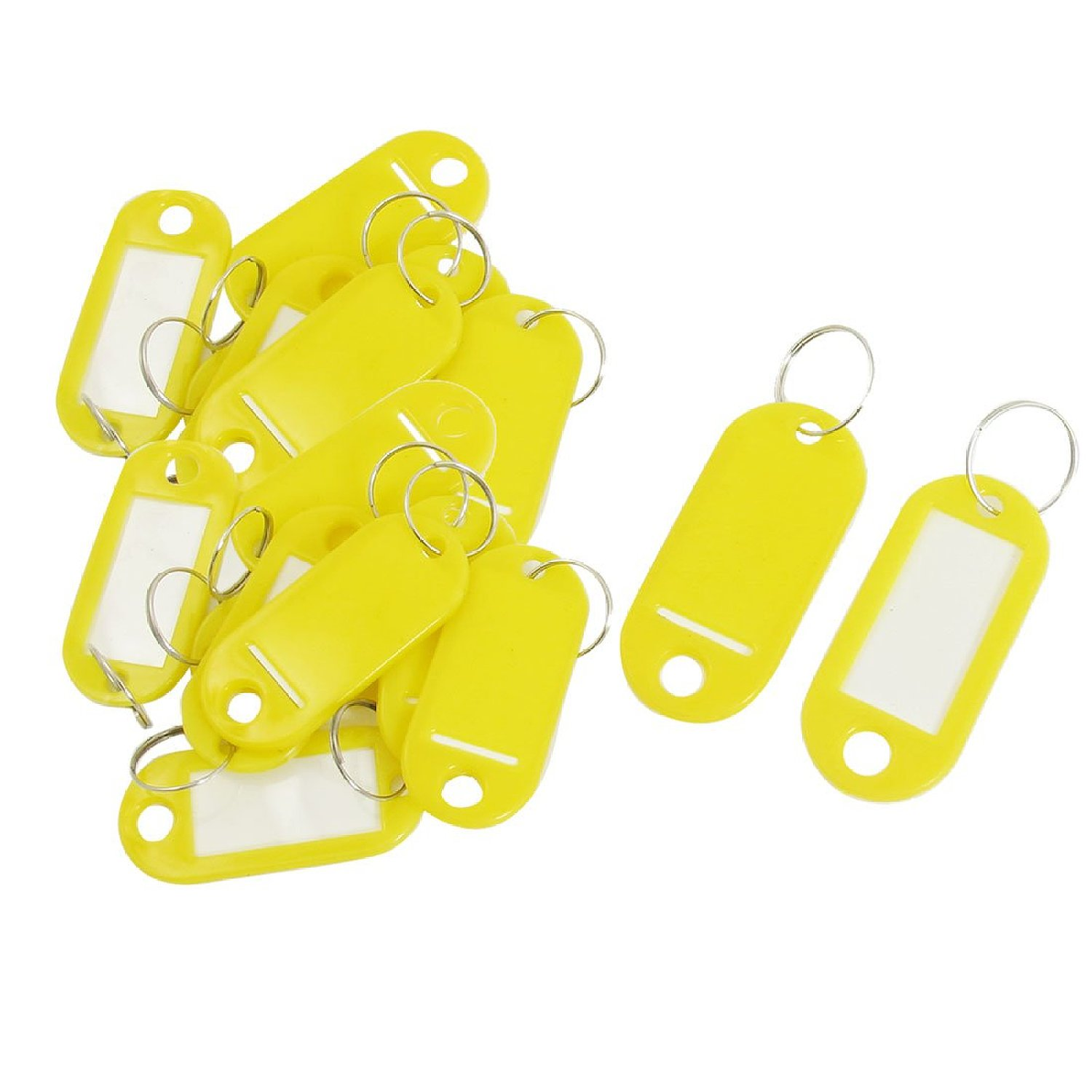 20pcs Yellow Plastic Key Fobs Luggage ID Tags Name Cards Labels Keyrings