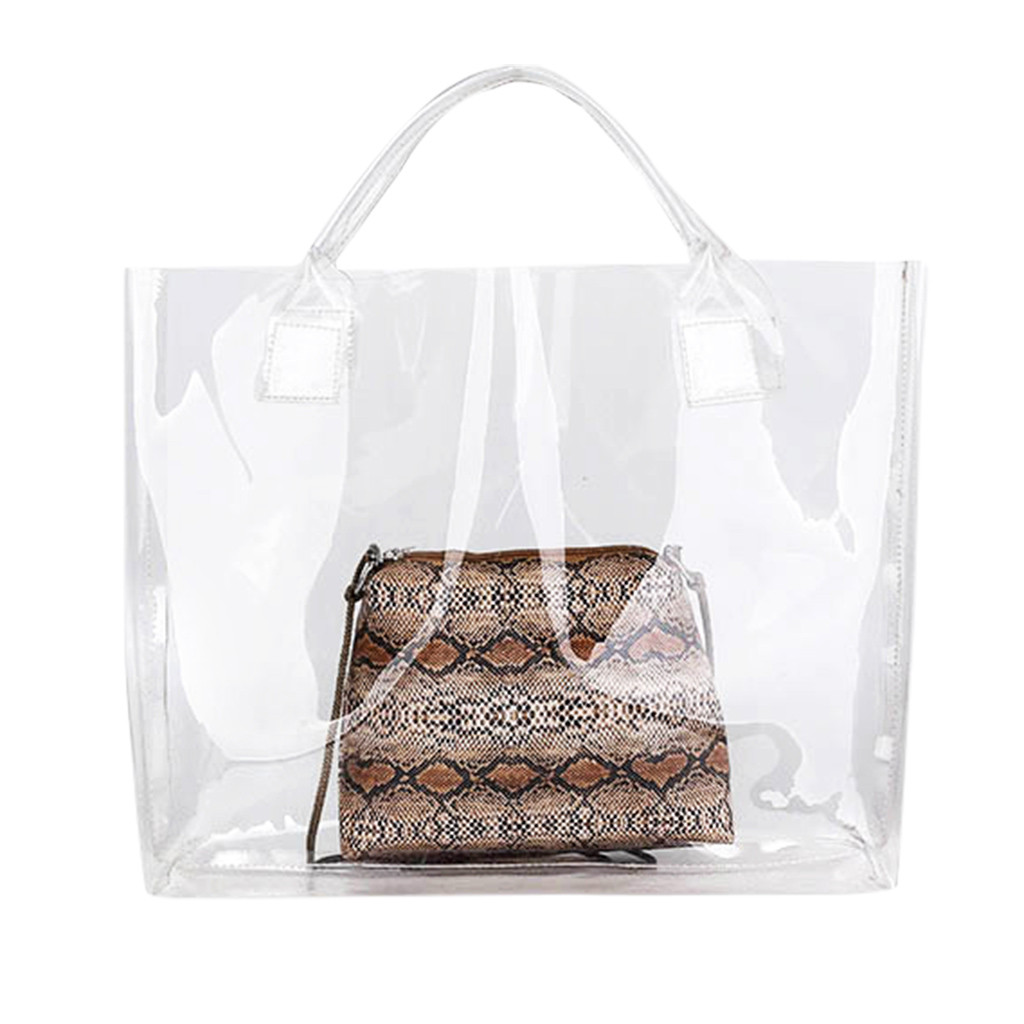 1cc01405ccbf US $4.78 25% OFF|2019 Transparent PVC Handbag beach Shoulder bag Women New  Trend Tote Hot Sale Jelly Color Plastic Clear Bag Large capacity-in ...