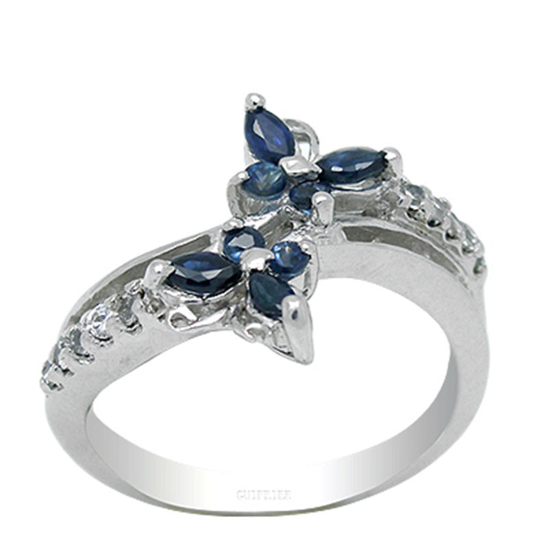 2017 Qi Xuan_Dark Blue Stone Elegant And Generous Butterflies Ring_S925 Solid Silver Fashion Rings_Manufacturer Directly Sales 2017 Qi Xuan_Dark Blue Stone Elegant And Generous Butterflies Ring_S925 Solid Silver Fashion Rings_Manufacturer Directly Sales