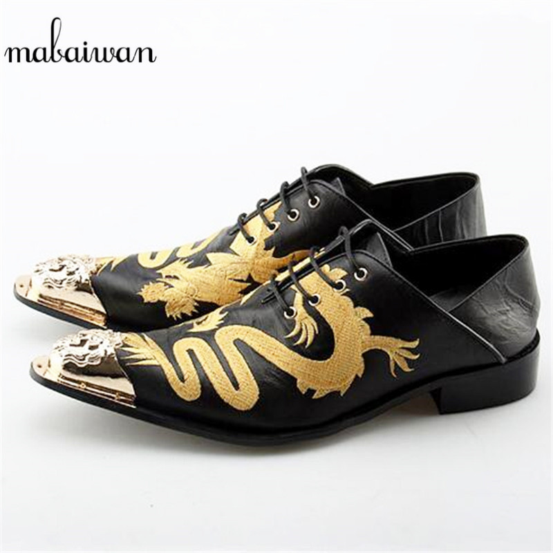 Mabaiwan Fashion Black Men Shoes Dragon Embroidery Leather Metal Pointed Toe Wedding Dress Shoes Men Lace Up Flats Oxford Shoes mabaiwan fashion new design leather dress men shoes lace up italy business wedding formal shoes men metal pointed toe male flats