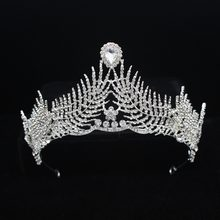 Rhinestone Feather Weddding Bridal Tiara Crowns For Girl Bride Diadem Headbands Hair Ornaments Wedding Hair Jewelry Accessories(China)