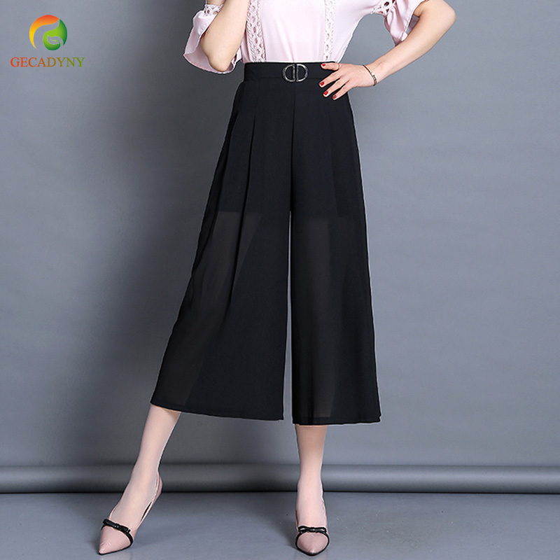 Women Chiffon Wide Leg   Pants   Casual Loose High Waist Calf-Length   Pants   2019 New Summer Women's Black Elastic Waist   Pants     Capris