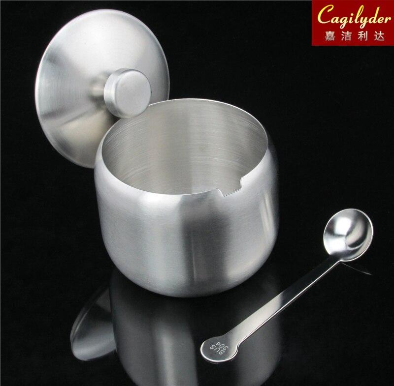 SUS304 stainless steel 18/8 seasoning jar salt pot cruet <font><b>sugar</b></font> cup spoon lid creative thicker kitchenware BBQ Gifts