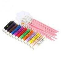 12 Colors Acrylic Nail Art Painting Brush Pigment Brushes Pen Palette Dish Kit Nail Polish