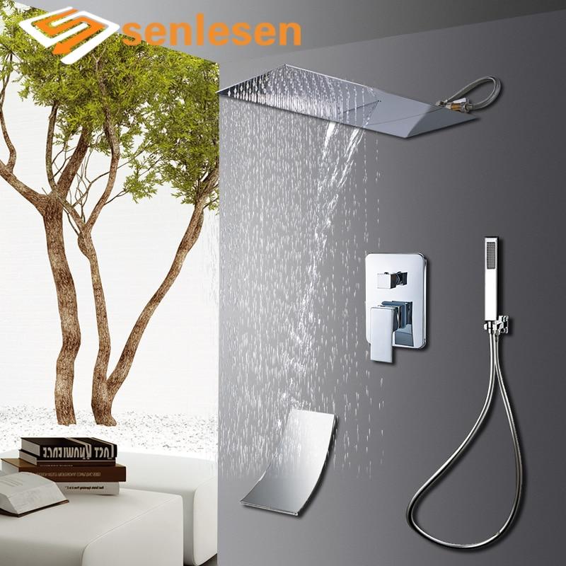 Senlesen Bathroom Shower Faucets Waterfall & Rain Shower Head Chrome Inox Hot and Cold Mixer Tap Wall Mounted Bath shower Set