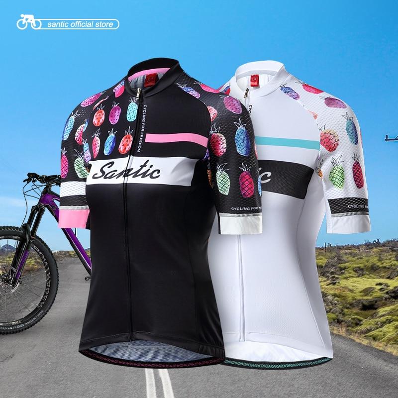 Santic Women Cycling Short Sleeve Jersey Pro Fit Antislip Sleeve Cuff MTB Road Bike Ladies Short