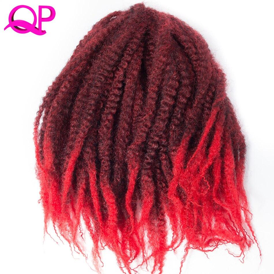 Qp волос 20 корни крючком волосы 18 ''Ombre матовый цвет афро кудрявый вьющиеся плетение волос Марли коса