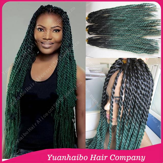 Hot Selling 22inch Two Tone Blackgreen Synthetic Twists