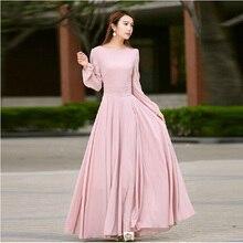 Vestido High Quality New Fashion 2016 Designer Runway Vintage Maxi Dress Women Long Sleeve chiffon dress summer pink long dress