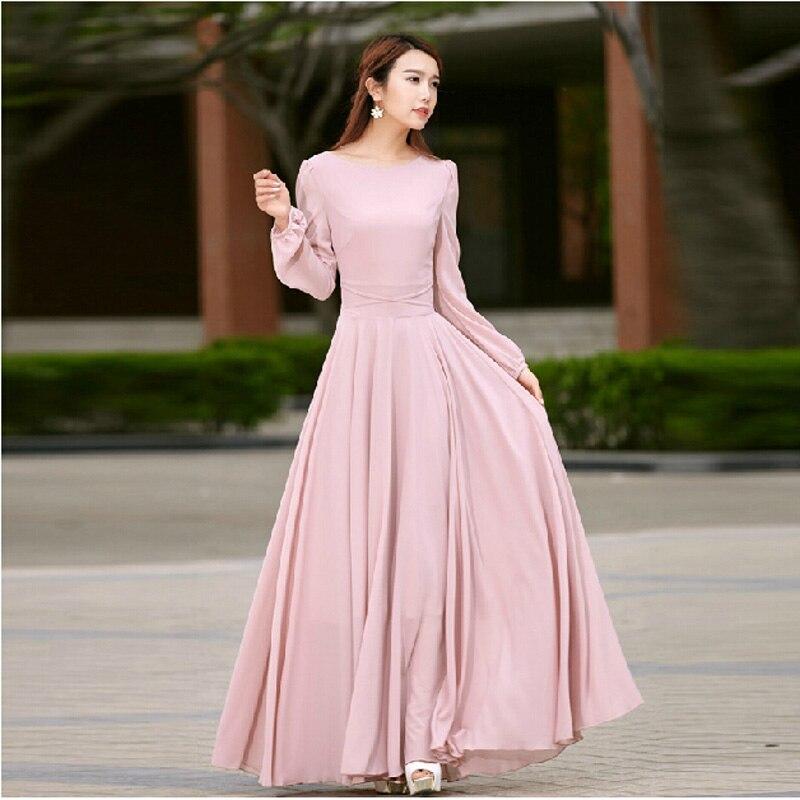 Popular Pink Long Sleeve Maxi Dress-Buy Cheap Pink Long Sleeve ...