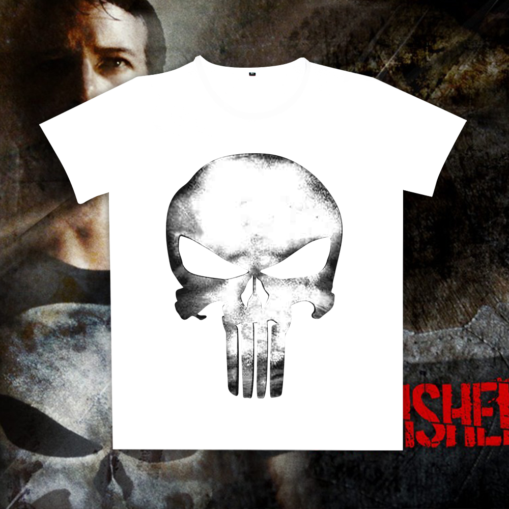 New Printed Punisher Skull Short Sleeves T-shirt Men Women Summer Tops Tee Drop Shipping