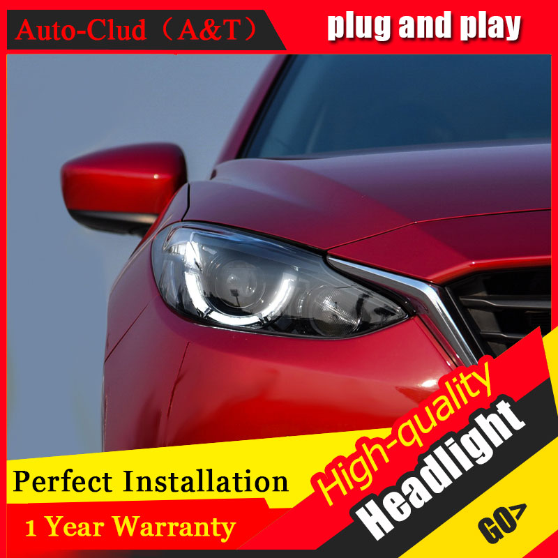 Auto Clud Car Styling For Mazda 3 headlights 2014/2016 For Axela head lamp led DRL front Bi-Xenon Lens Double Beam HID KIT auto clud style led head lamp for benz w163 ml320 ml280 ml350 ml430 led headlights signal led drl hid bi xenon lens low beam