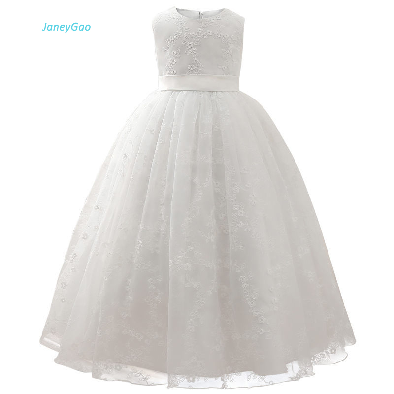 JaneyGao   Flower     Girl     Dresses   2019 New Elegant White Formal Kids Gown For Wedding Party Teenage   Girls   Pageant vestido comunion