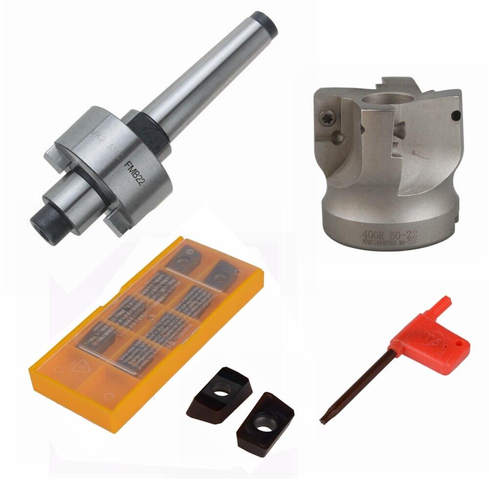 MT2 FMB22 M10 Tool Holder Shank 50mm with Drawbar Face Endmill CNC Milling Cutter w/ 10pcs APMT1604 Carbide InsertsMT2 FMB22 M10 Tool Holder Shank 50mm with Drawbar Face Endmill CNC Milling Cutter w/ 10pcs APMT1604 Carbide Inserts