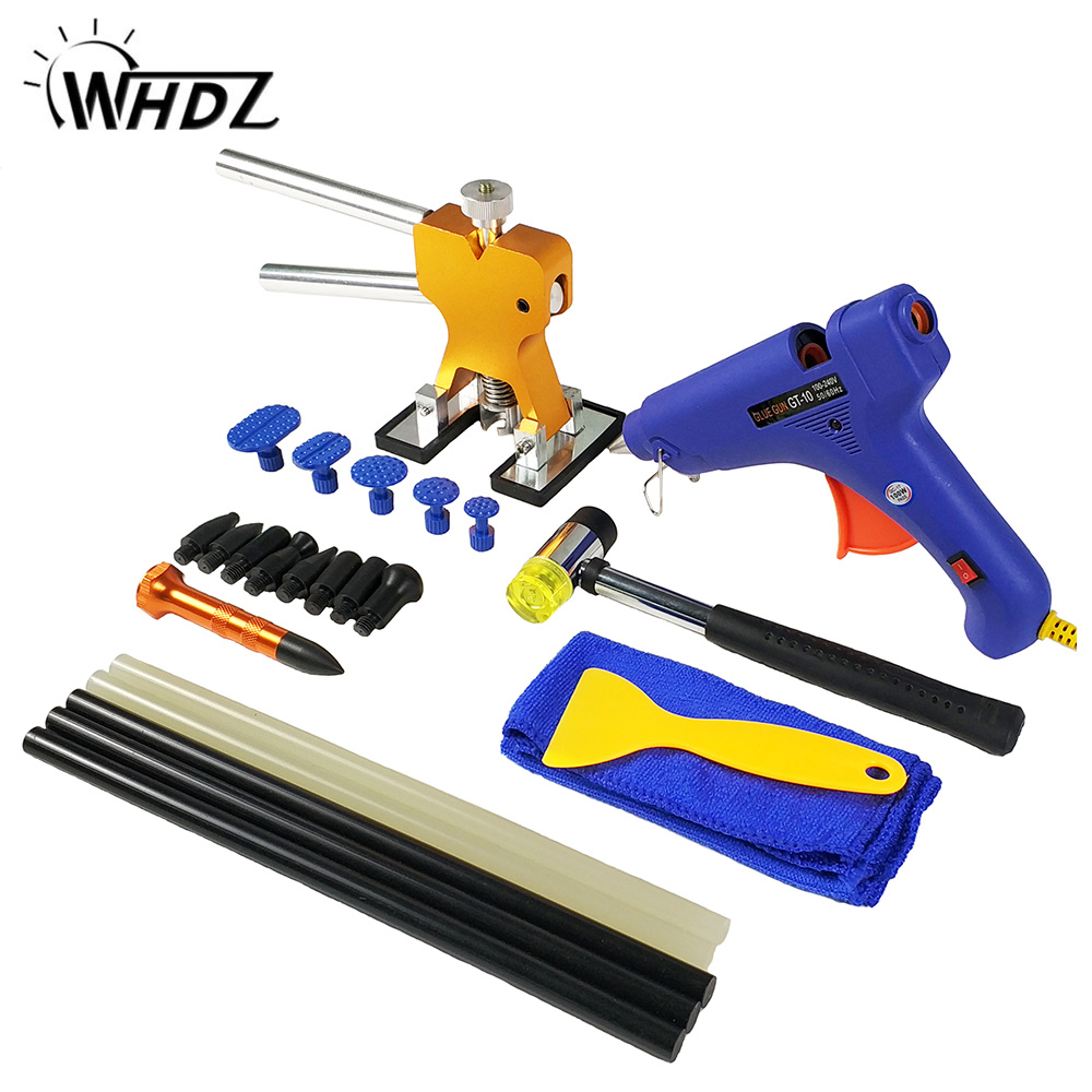 WHDZ PDR Auto Body Paintless Dent Removal Repair Tools Kits Glue Gun Dent Lifter Glue Puller Hand Tool Set auto body repair tool whdz pdr auto body paintless dent removal repair tools kits bridge puller 2in1slide hammer glue puller automotive door ding dent