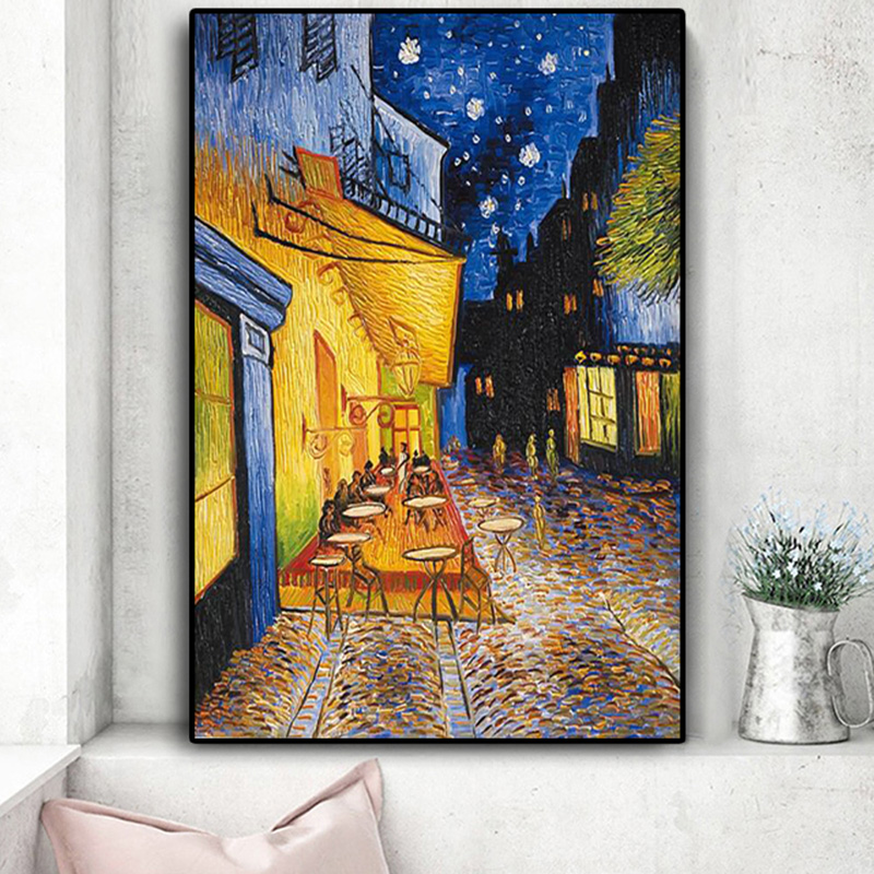 Famous Van Gogh Cafe Terrace At Night Oil Painting Reproductions on Canvas Posters and Prints Wall Art Picture for Living Room(China)