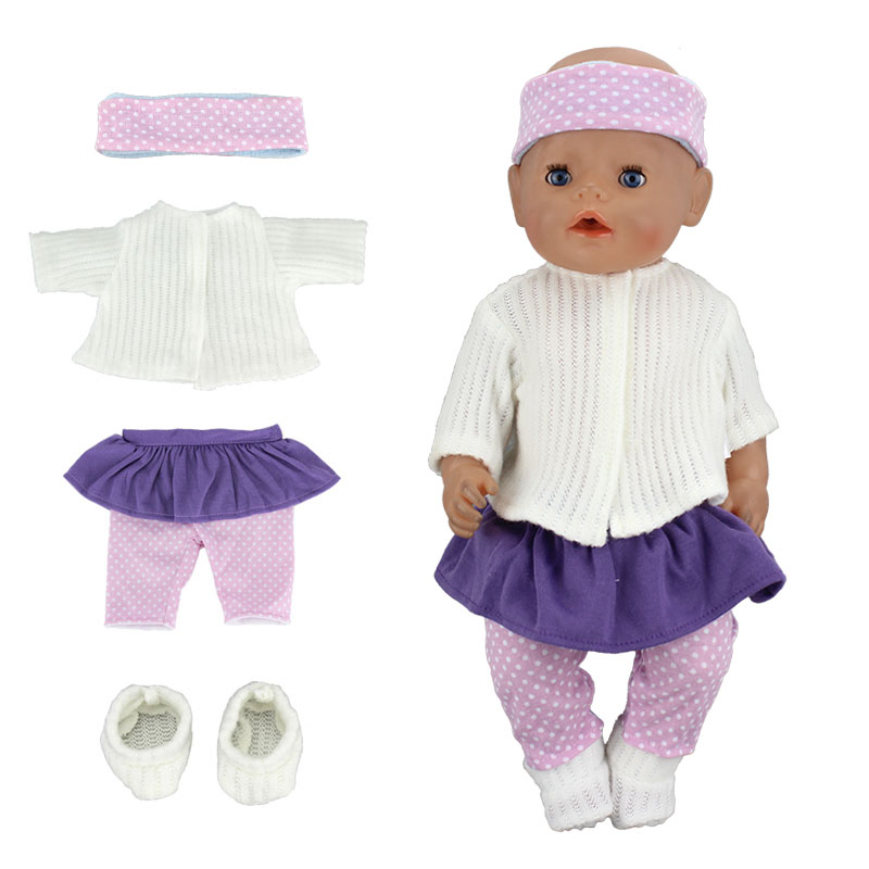 4Pcs=sweater+dress+hairbrand+shoes clothes Wear fit 43cm Baby Born zapf,  Children best  Birthday Gift(only sell clothes) meired grid jumpsuit hat wear fit 43cm baby born zapf children best birthday gift only sell clothes