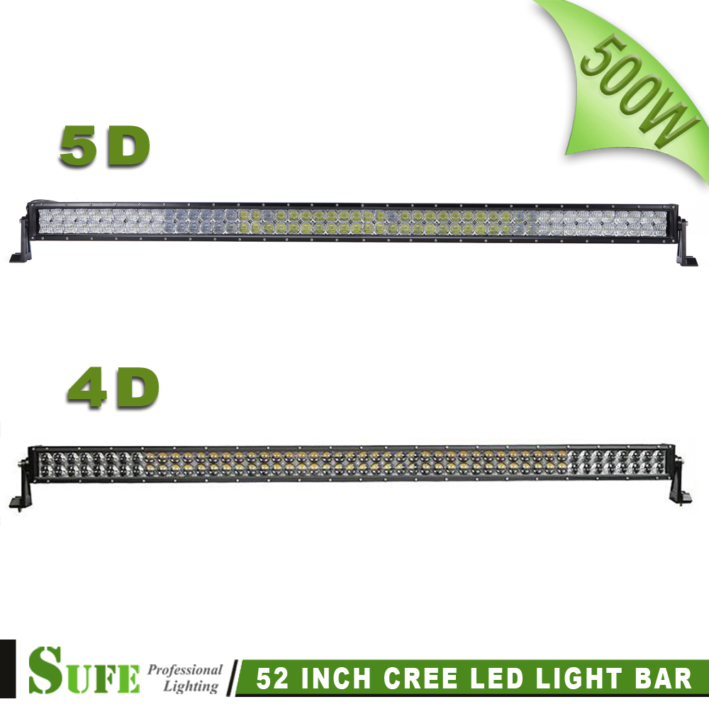 SUFE 52 Inch 4D 5D 500W Super Bright LED LIGHT BAR Combo Beam LED Driving Work Light For Off Road Truck 4X4 4WD Camper SUV IP67