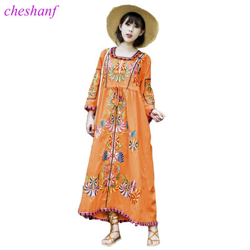 47b2a0c33cd High Quality New Women Vintage Ethnic Flower Embroidered Cotton Tunic Long  Dress Hippie Boho People Loose