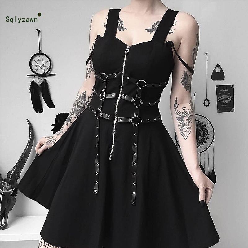 2019 Women Sexy V Neck High Waist Pleated Black Mini Dress Streetwear Bandage Zipper Vestidos Harajuku Gothic A-line Dress