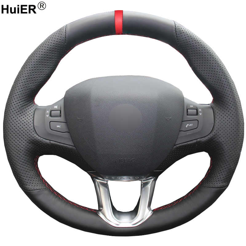 HuiER Hand Sewing Car Steering Wheel Cover Wear-resistant Red Marker For Peugeot 208 Peugeot 2008 Steering-wheel Auto Accessorie