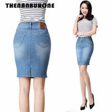 THENANBURONE Women Summer Denim Skirt Slim Short Miniskirt Women's Spring Jean Skirts Fashion Denim Pencil Skirt With 6XL Plus