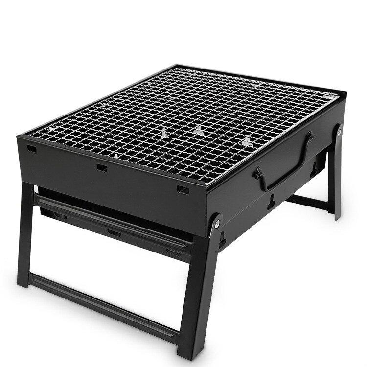 Extérieur Portable Barbecue charbon de bois grilles poêles Barbecue petite taille en acier noir poêle pliant Barbecue Rack charbon de bois Barbecue outils