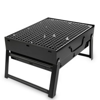 Outdoor Portable Barbecue Charcoal Grills Stoves BBQ Small Size Black Steel Stove Folding Barbecue Rack Charcoal Barbecue Tools