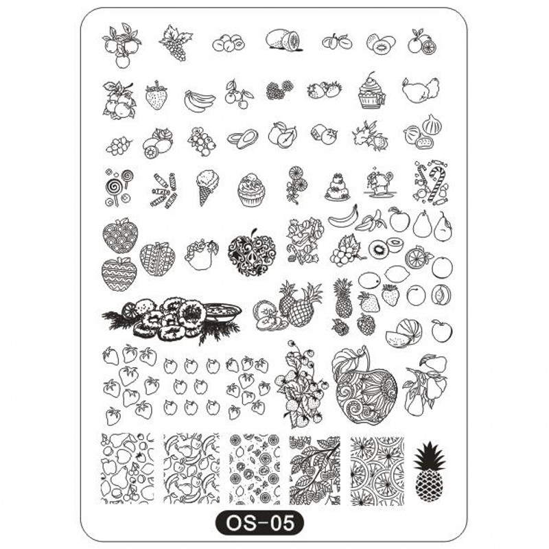 1Pc OS Series Big Stamping Plates 10*14cm Rectangle Plates Animal/ Fruits/ Cartoon Image Stamp Templates Plates Stencil Tool OS5