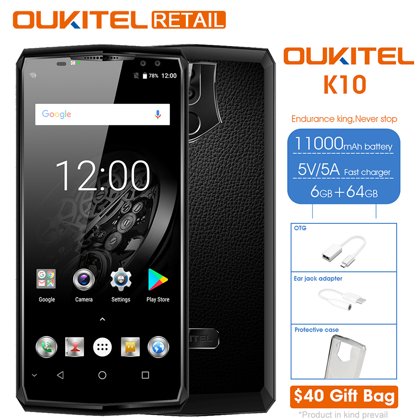 Oukitel K10 6.0 18:9 Display Face ID 6G RAM 64G ROM 11000mAh 5V/5A Quick Charge MTK6763 Fingerprint NFC Four Cameras Smartphone