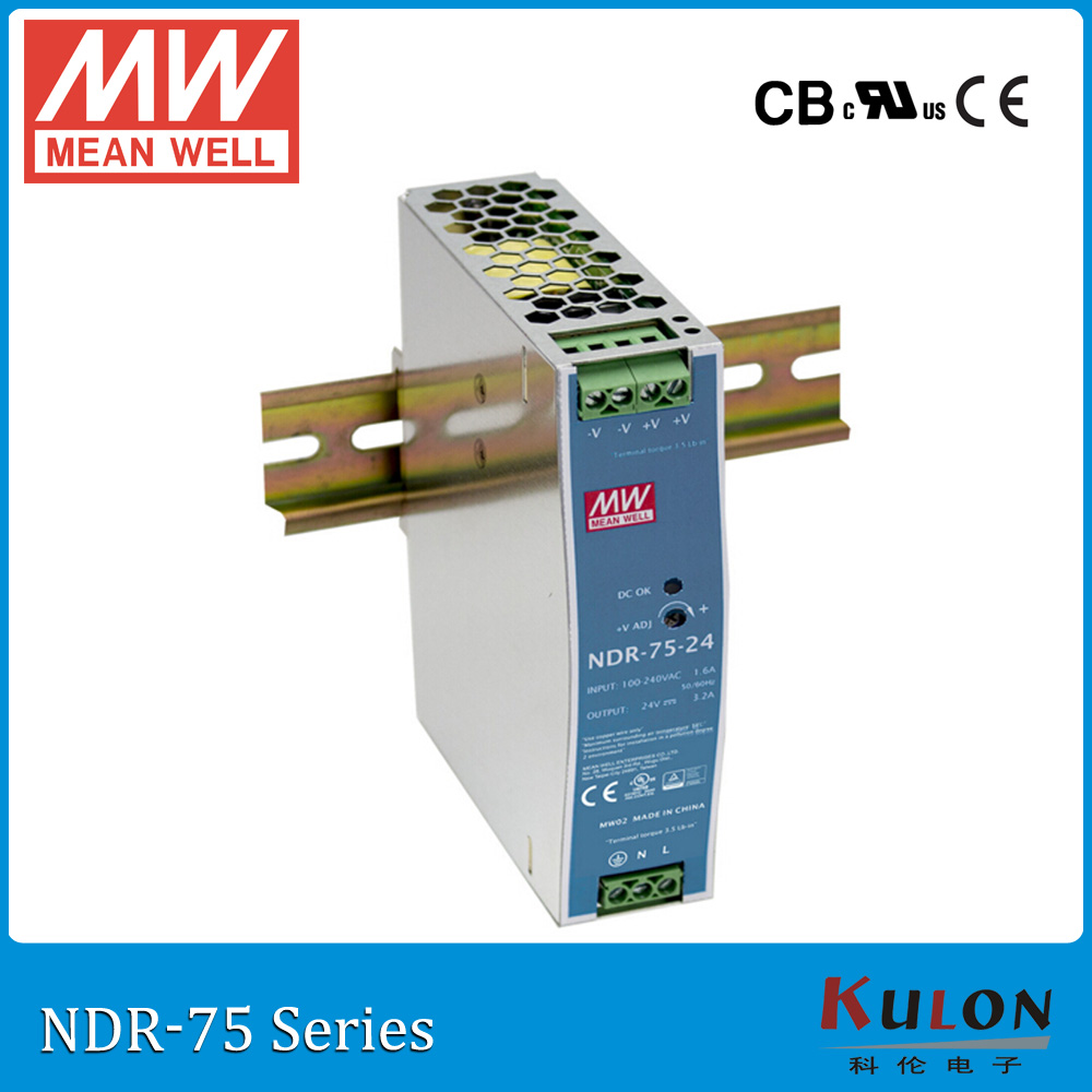 Original MEAN WELL NDR-75-48 Single Output 75W 48V 1.6A Industrial DIN Rail Mounted Meanwell Power Supply NDR-75