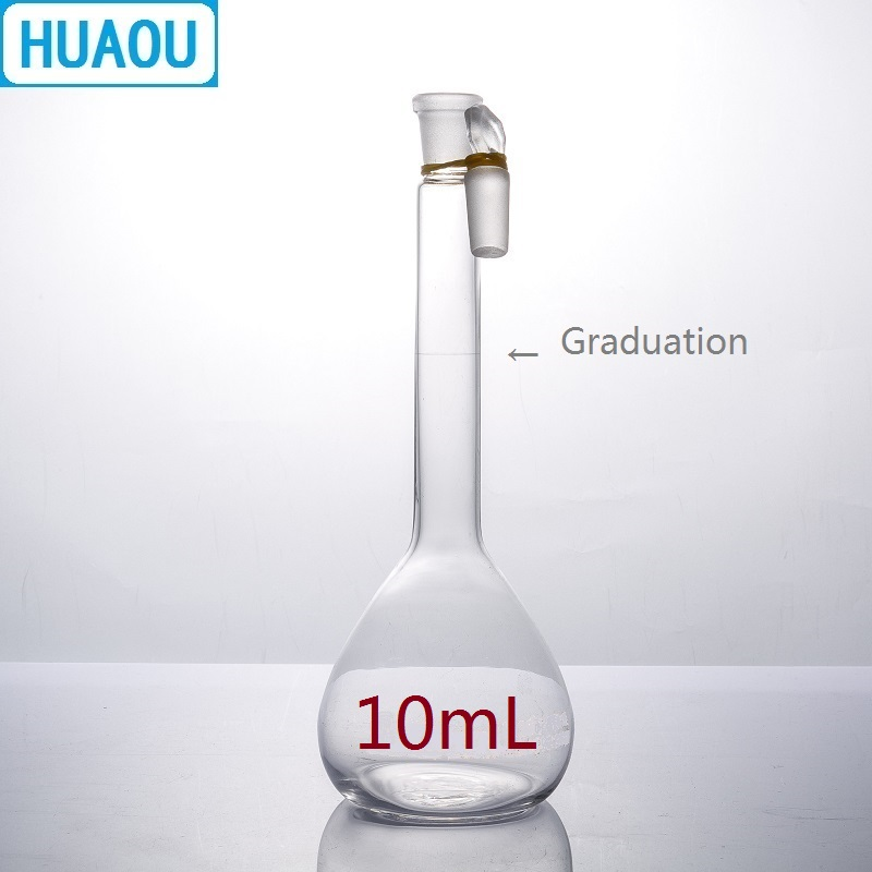 HUAOU 10mL Volumetric Flask Class A Neutral Glass With One Graduation Mark And Glass Stopper Laboratory Chemistry Equipment