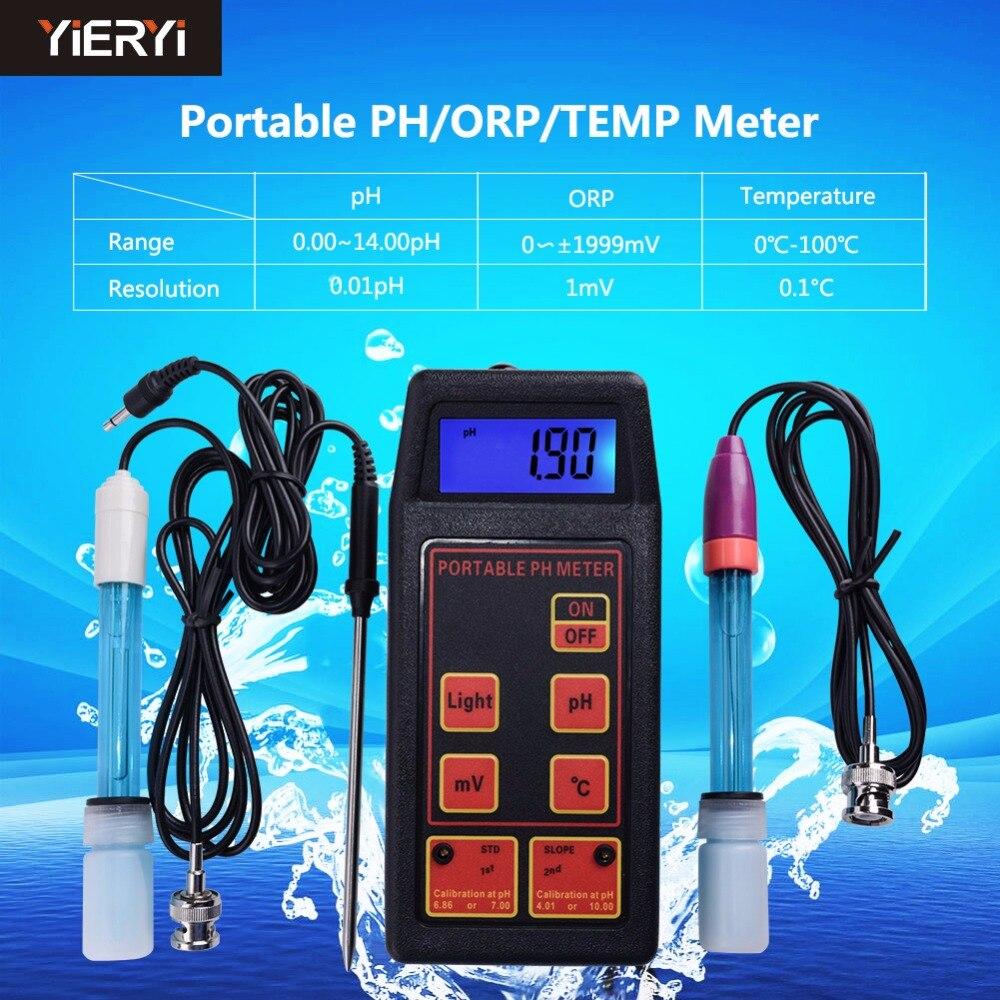Yieryi 3-em-1 Alta Precisão Portátil de pH/mV/Temp Medidor + Substituível pH & ORP eletrodos + Sonda de Temperatura