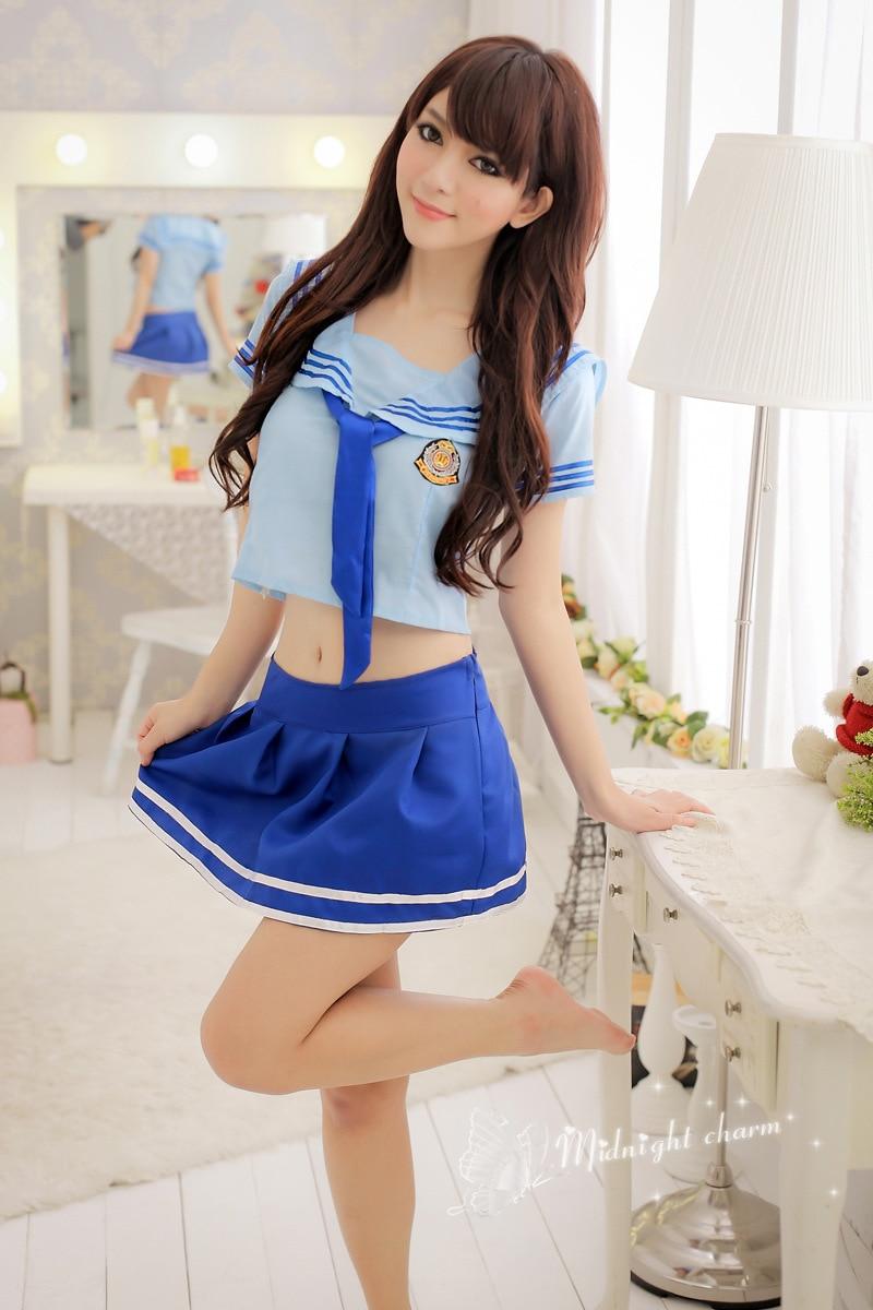Sexy Lingerie Uniform Blue Students Student Dress Costumes -1120