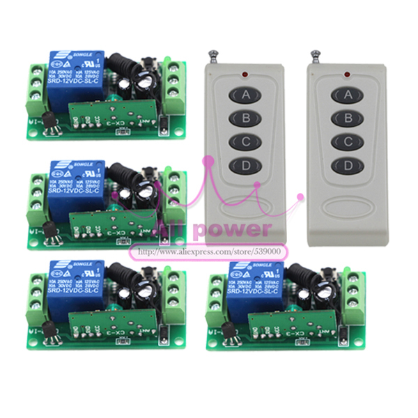Free Shipping 1 Channel AC DC 12V RF Wireless Remote Control Switch 4Receiver +2Transmitter 315/433 MHz Learning Code