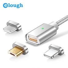Магнитный кабель Elough E04 с Micro USB Type C, для быстрой зарядки мобильных телефонов iPhone Samsung Xiaomi, USB кабель