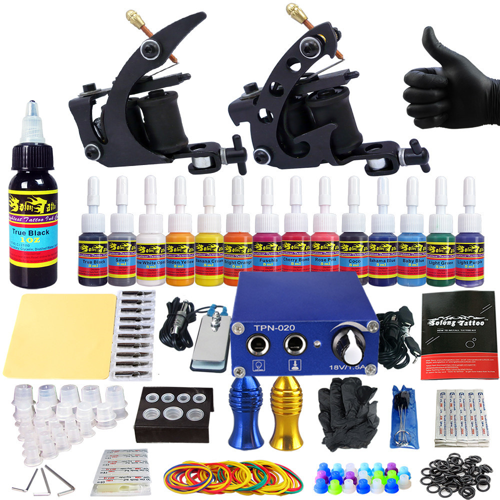 Stigma 2018 New Tattoo Kit for Liner and Shader Clip Cord 2 Guns New Arrival Sets Light Weight Practice Skin TK203-1Stigma 2018 New Tattoo Kit for Liner and Shader Clip Cord 2 Guns New Arrival Sets Light Weight Practice Skin TK203-1