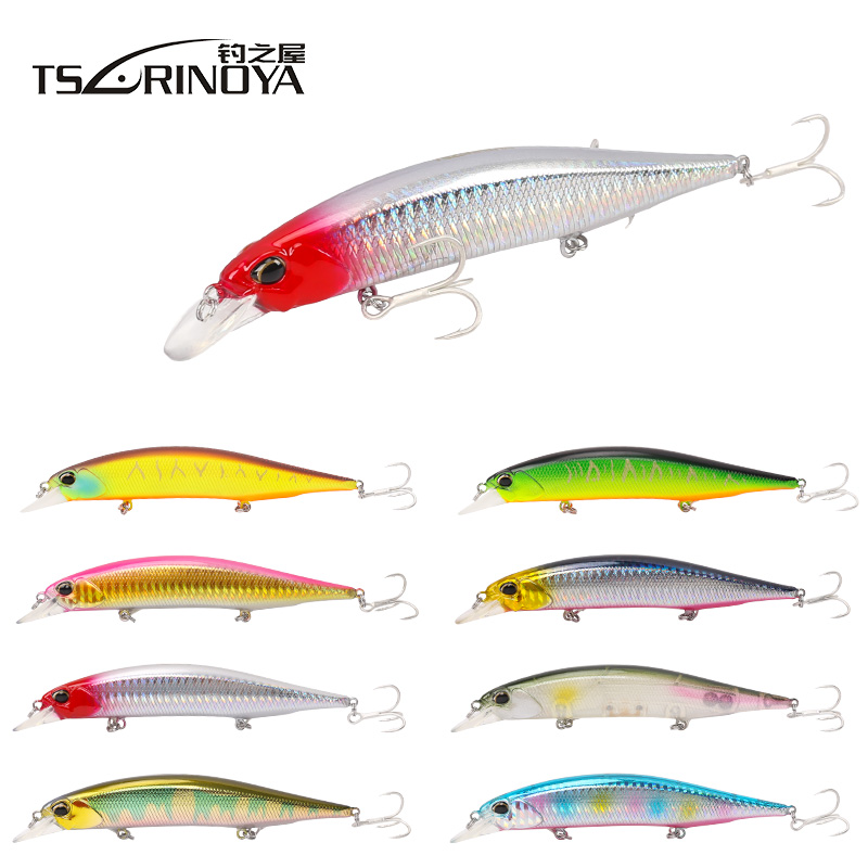 TSURINOYA Señuelo de la pesca de Minnow 12cm 19.5g 3D Eyes Suspending Hard Bait Isca Artificiais Para Pesca Wobblers Bass Fishing Tackle