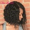 Natural Sin Procesar Malasio Rizado Peluca negro/blanco mujeres Glueless Pelucas Delanteras del Cordón Corto Bob peluca Llena Del Cordón del pelo Humano pelucas
