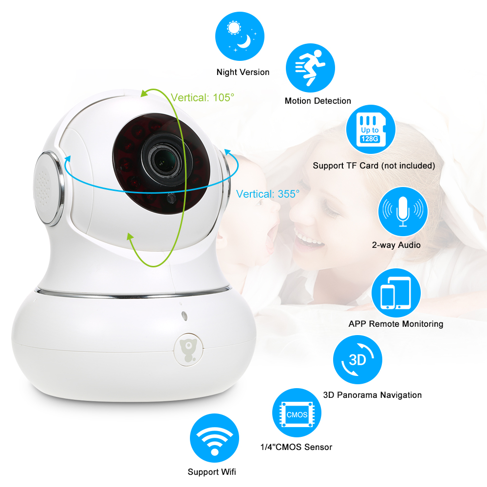 HD 1080P WiFi CCTV IP Camera 3D Navigation Pan//Tilt Two-way Audio Timely Record
